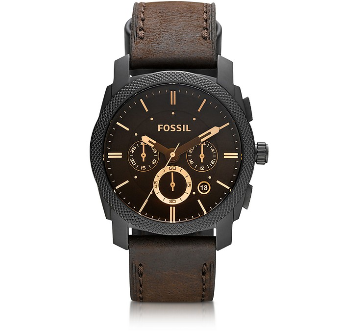Machine Mid-Size Chronograph Brown Leather Men's Watch - Fossil