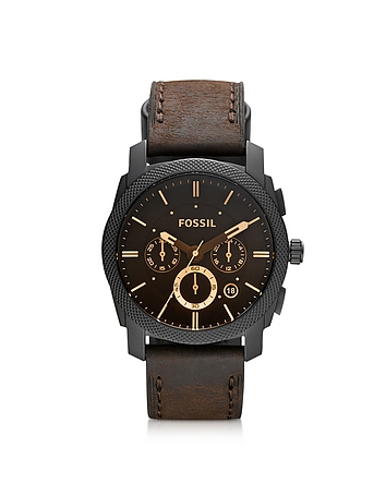 Fossil - Machine Mid-Size Chronograph Brown Leather Men's Watch