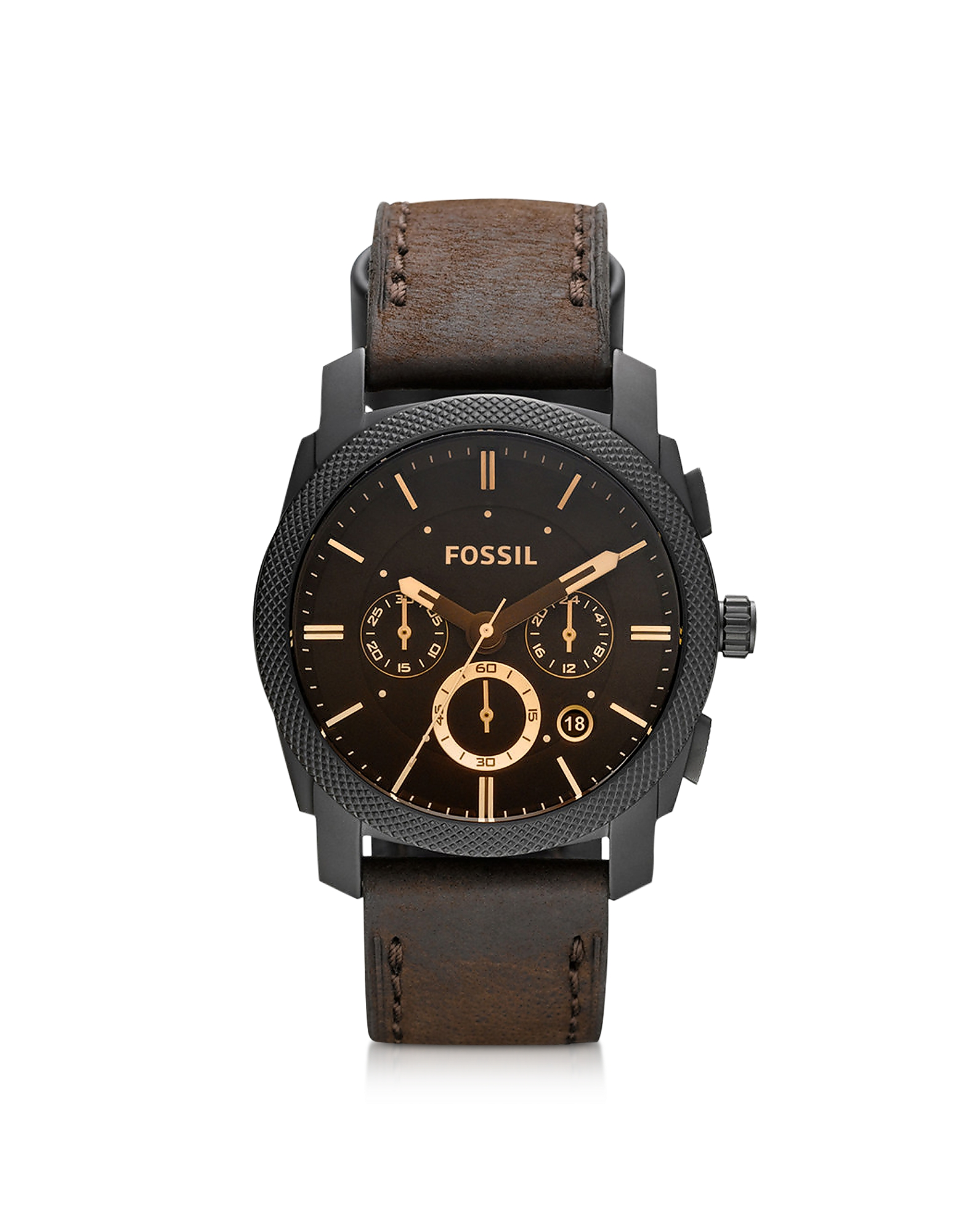 Fossil Men's Watches, Machine Mid-Size Chronograph Brown Leather Men's Watch