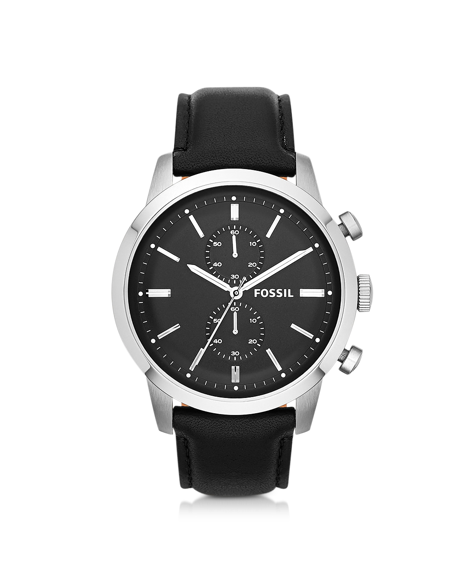 Fossil Men's Watches, Townsman Chronograph Black Leather Men's Watch