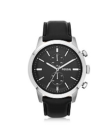 Townsman Chronograph Black Leather Men's Watch