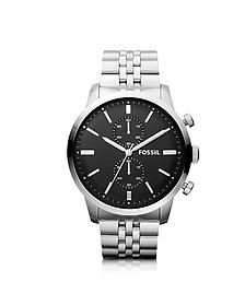 Townsman Chronograph Silver Stainless Steel Men's Watch  - Fossil