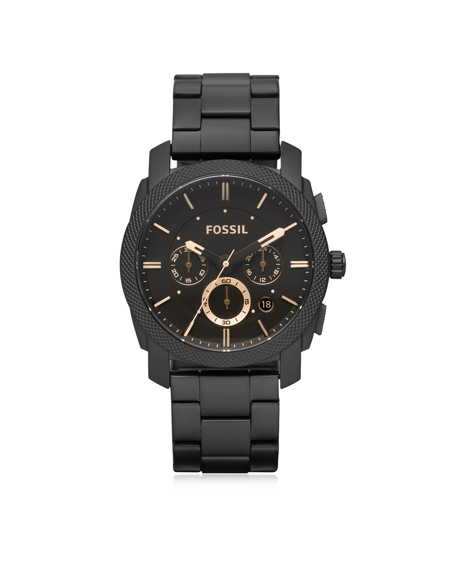 Fossil Men's Watches, Machine Chronograph Black Stainless Steel Men's Watch