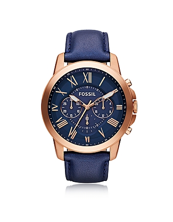 Grant Chronograph Rose Gold Tone Stainless Steel Case and Navy Blue Leather Strap Men's Watch