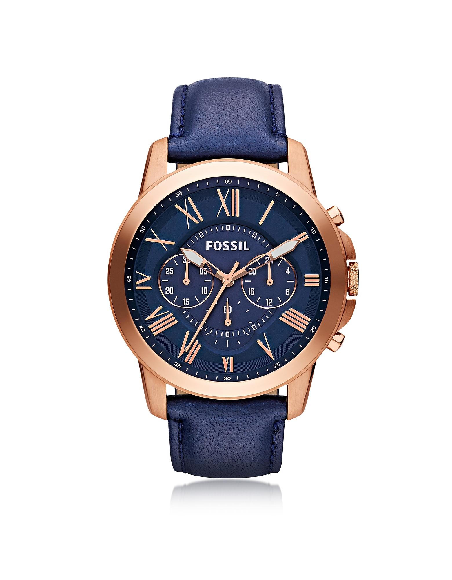 Grant - Золотистые Мужские Часы Хронограф из Нержавеющей Стали с Темно-синим Кожаным Ремешком