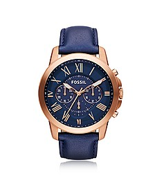 Grant Chronograph Rose Gold Tone Stainless Steel Case and Navy Blue Leather Strap Men's Watch - Fossil