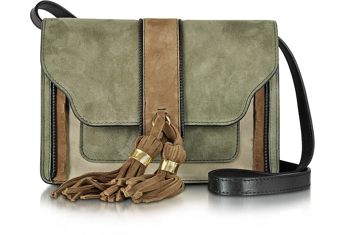 Color Block Suede Shoulder Bag w/Camel Tassels - L'Autre Chose