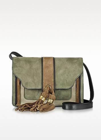 Borsa in Suede Color Block con Nappine Caramello - L'Autre Chose