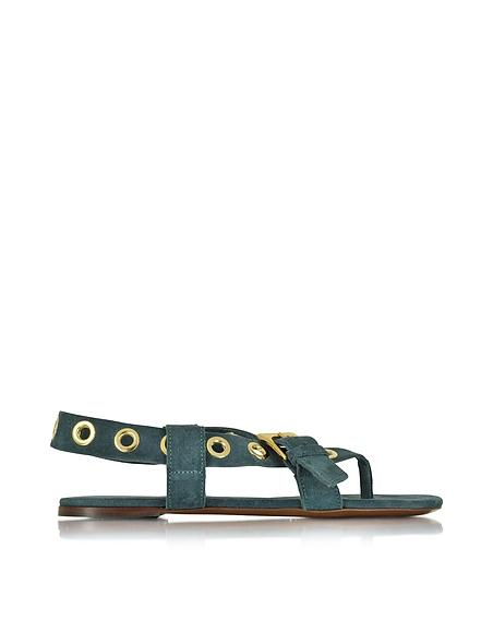 Foto L'Autre Chose Sandalo Flat in Suede Jeans con Borchie Scarpe