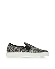 Silver and Black Glitter Fabric Sneaker - L'Autre Chose