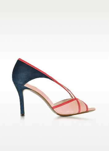 Midnight Blue, Red and Pink Suede Mid-Heel Sandal - L'Autre Chose