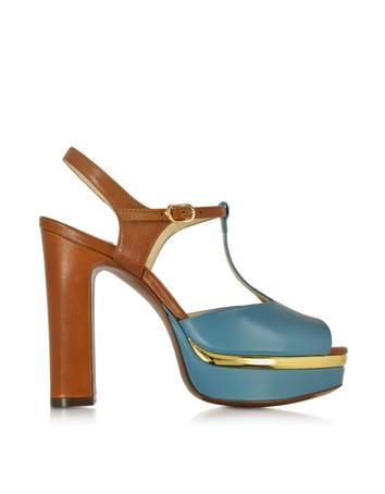Forzieri DE L'Autre Chose Aviator Blue & Brandy Leather T-Bar Platform Sandal