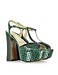 Emerald Green Embossed Croco Leather and Glitter Platform Sandal - L'Autre Chose