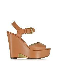 Apricot Leather Wedge Sandal - L'Autre Chose