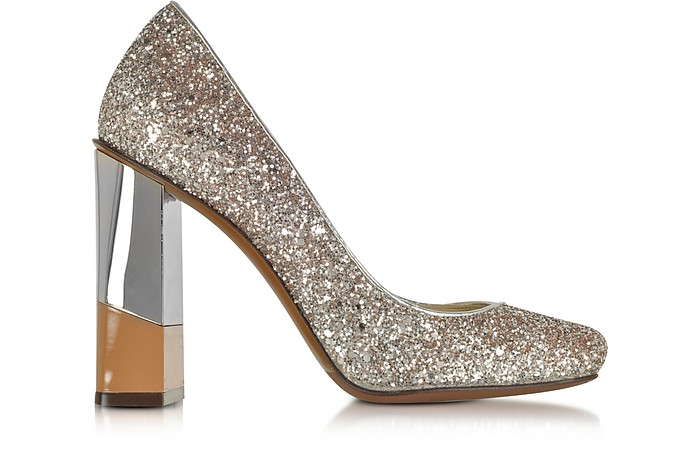 Glitter Leather Pump w/Camel & Mirror Heel - L'Autre Chose