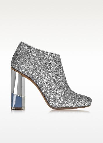 Glitter Leather Low Boot w/Aviator & Silver Heel - L'Autre Chose