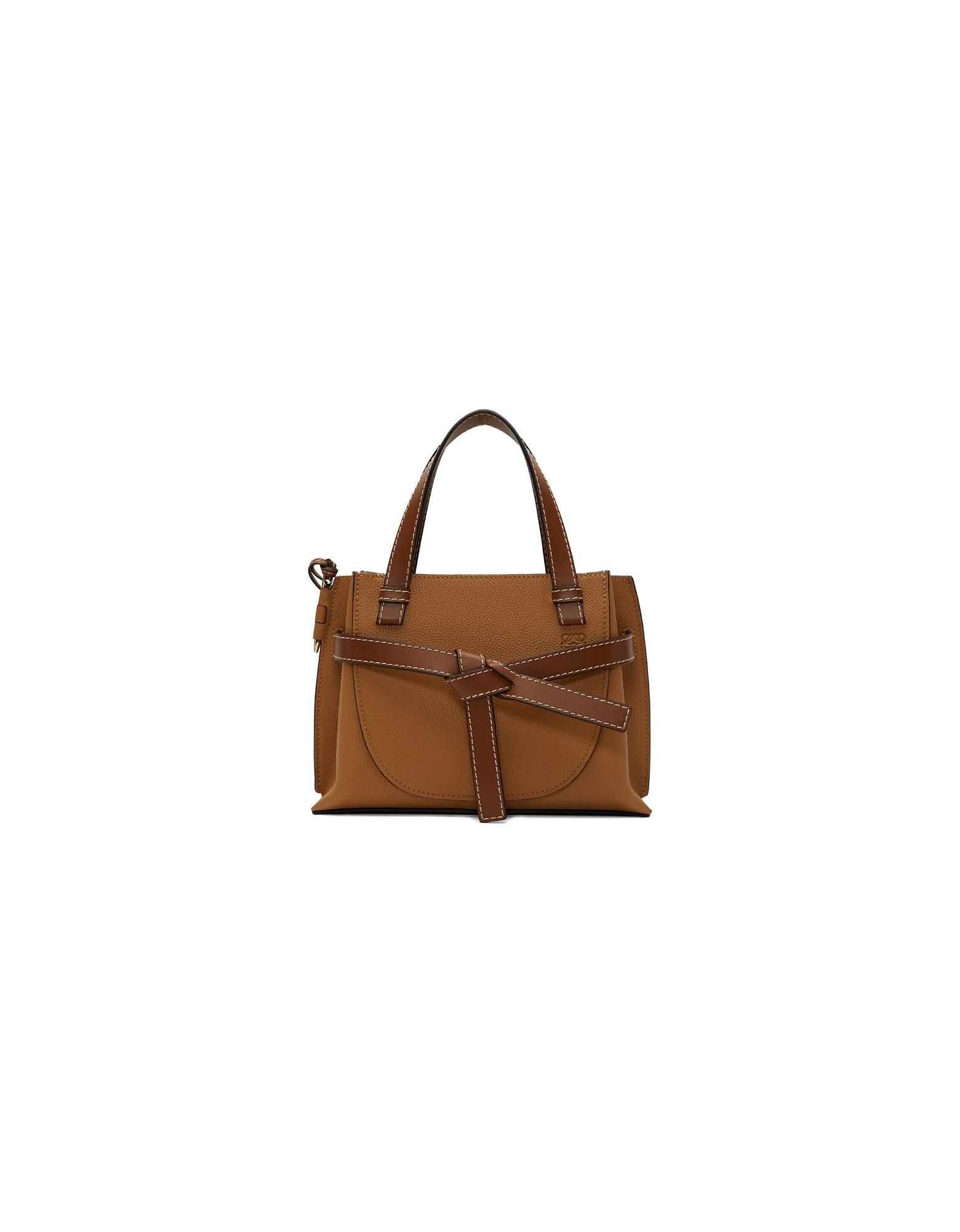 Loewe Designer Handbags, Brown Small Gate Top Handle Bag