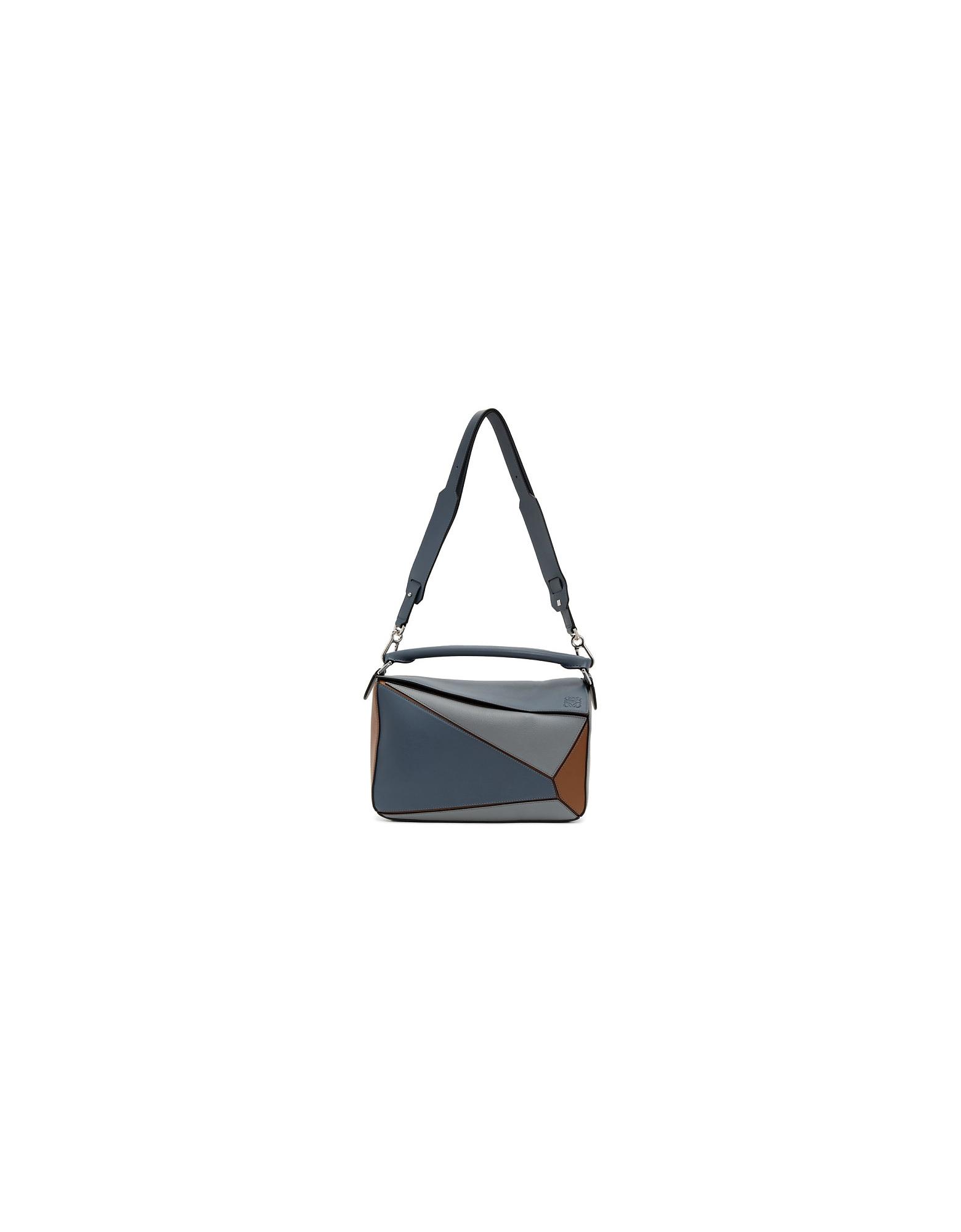 Loewe Designer Handbags, Blue and Tan Large Puzzle Bag