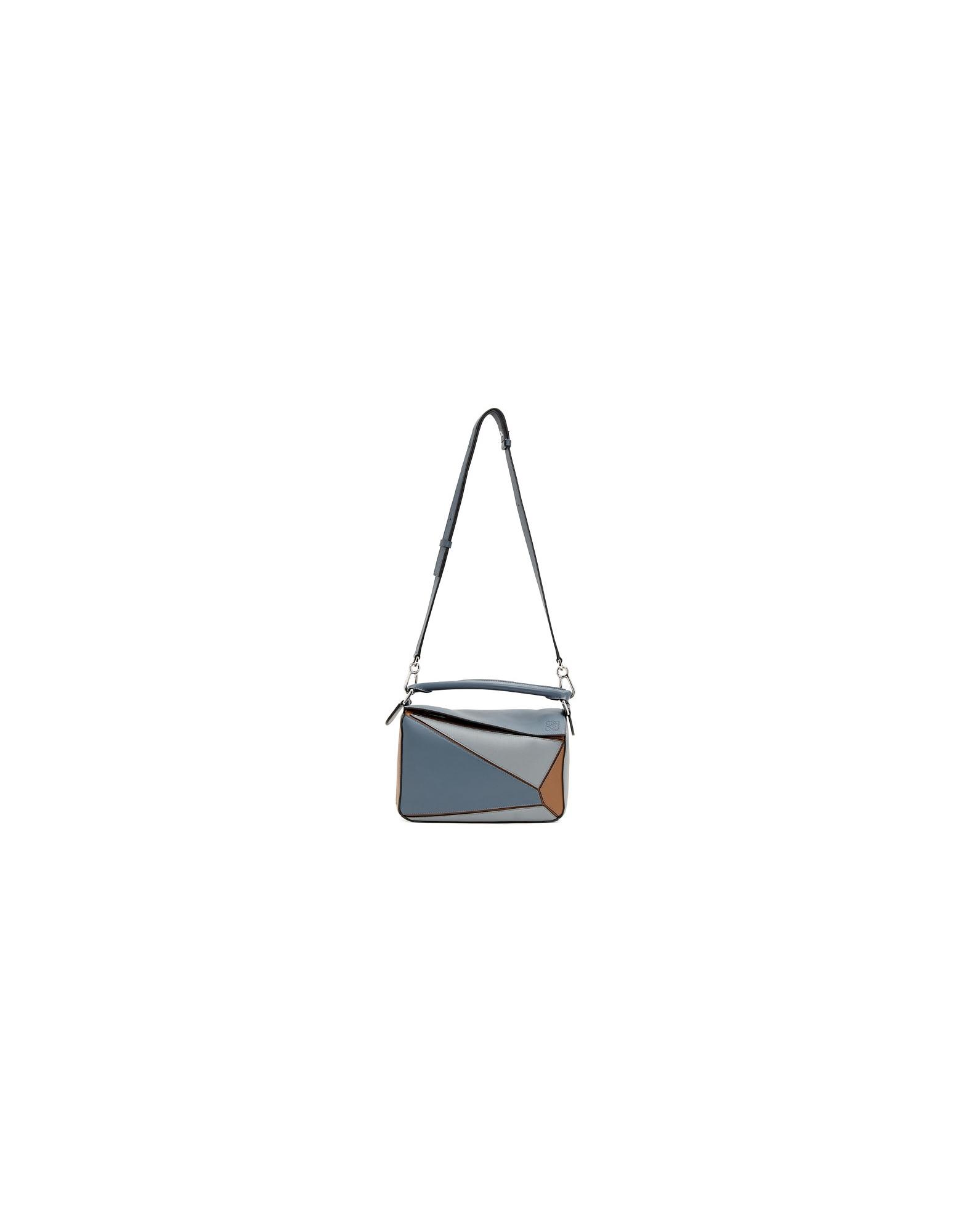 Loewe Designer Handbags, Blue and Tan Small Puzzle Bag