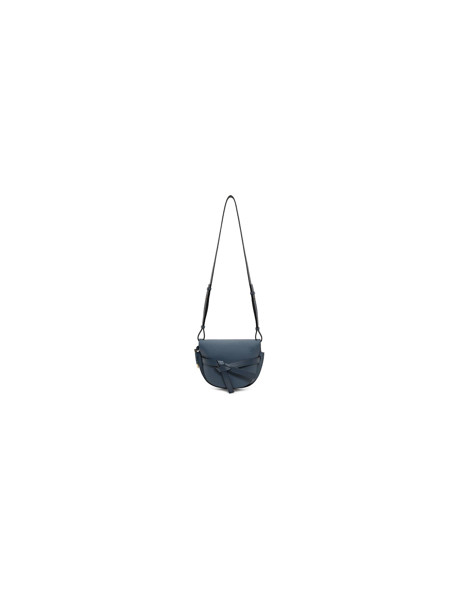 Loewe Designer Handbags, Blue Small Gate Bag