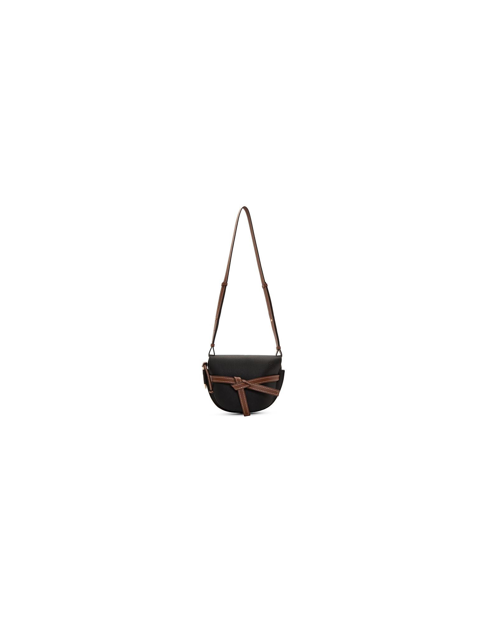 Loewe Designer Handbags, Black and Brown Small Gate Bag