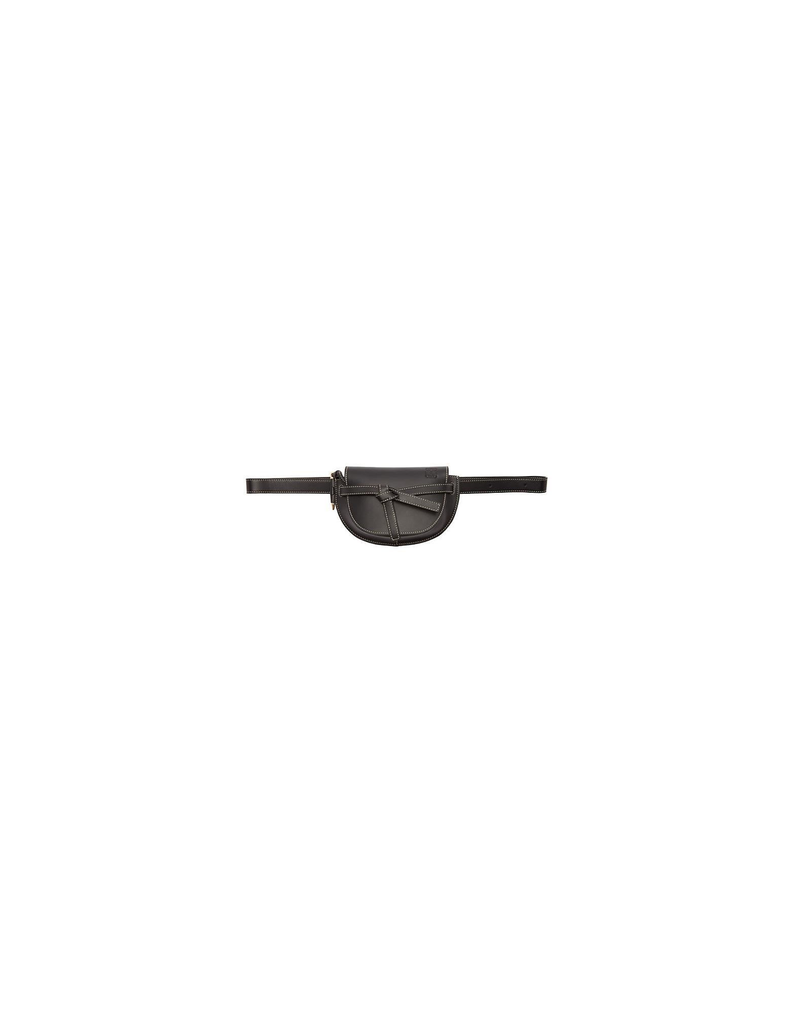 Loewe Designer Handbags, Black Mini Gate Bum Bag