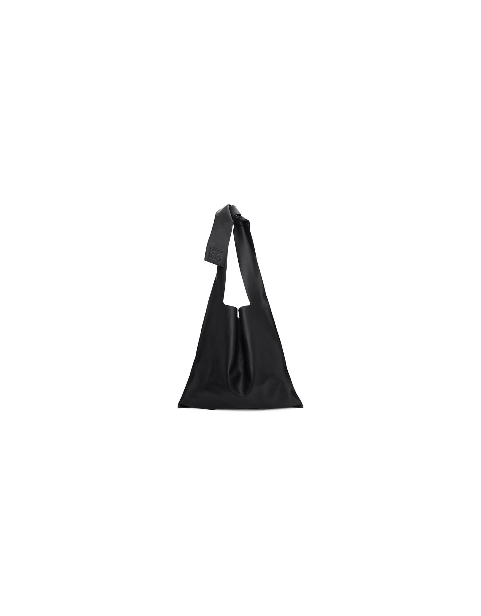 Loewe Designer Handbags, Black Leather Bow Tote