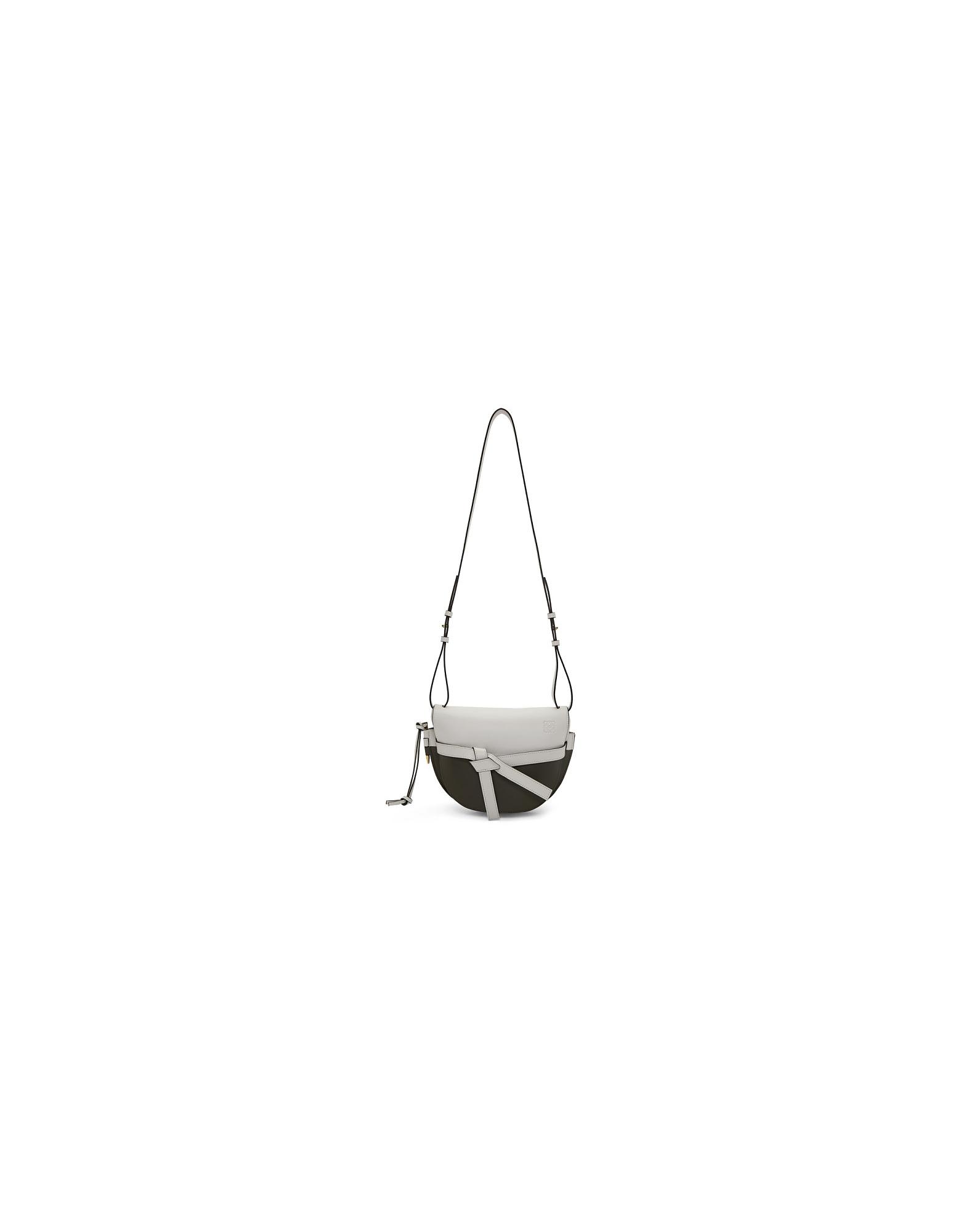 Loewe Designer Handbags, Green and White Small Gate Bag