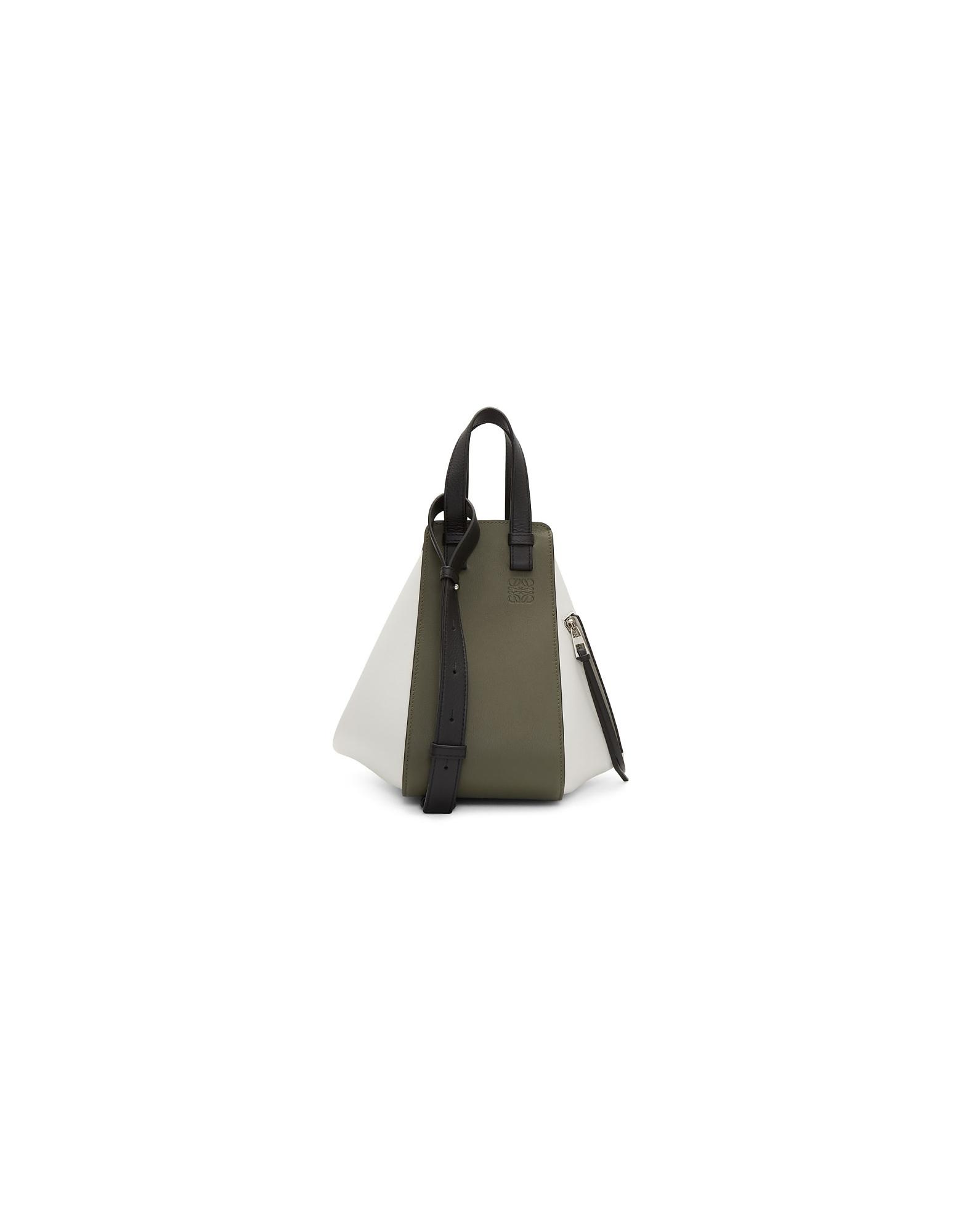Loewe Designer Handbags, Green and White Small Hammock Bag