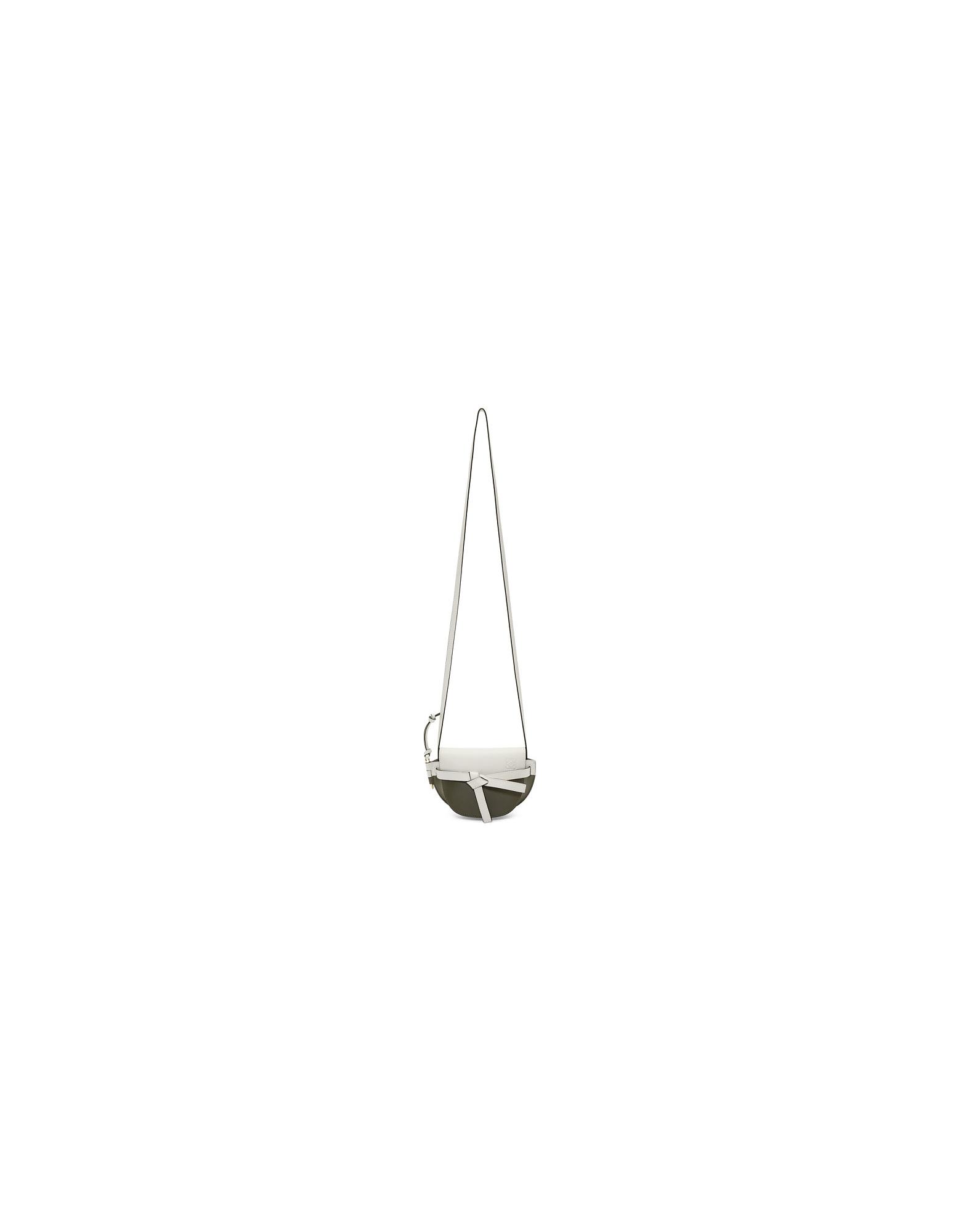 Loewe Designer Handbags, Green and White Mini Gate Colorblock Bag
