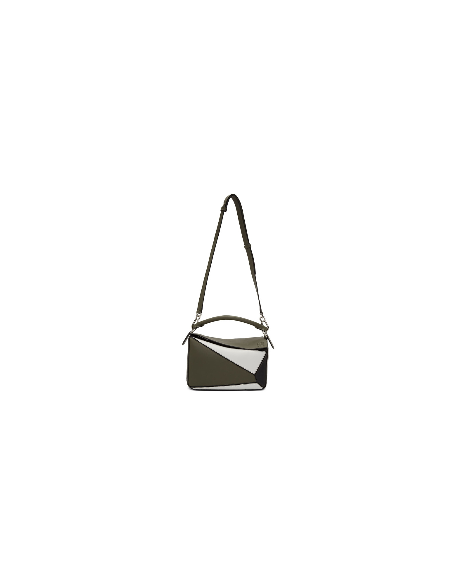 Loewe Designer Handbags, Green and White Small Puzzle Bag