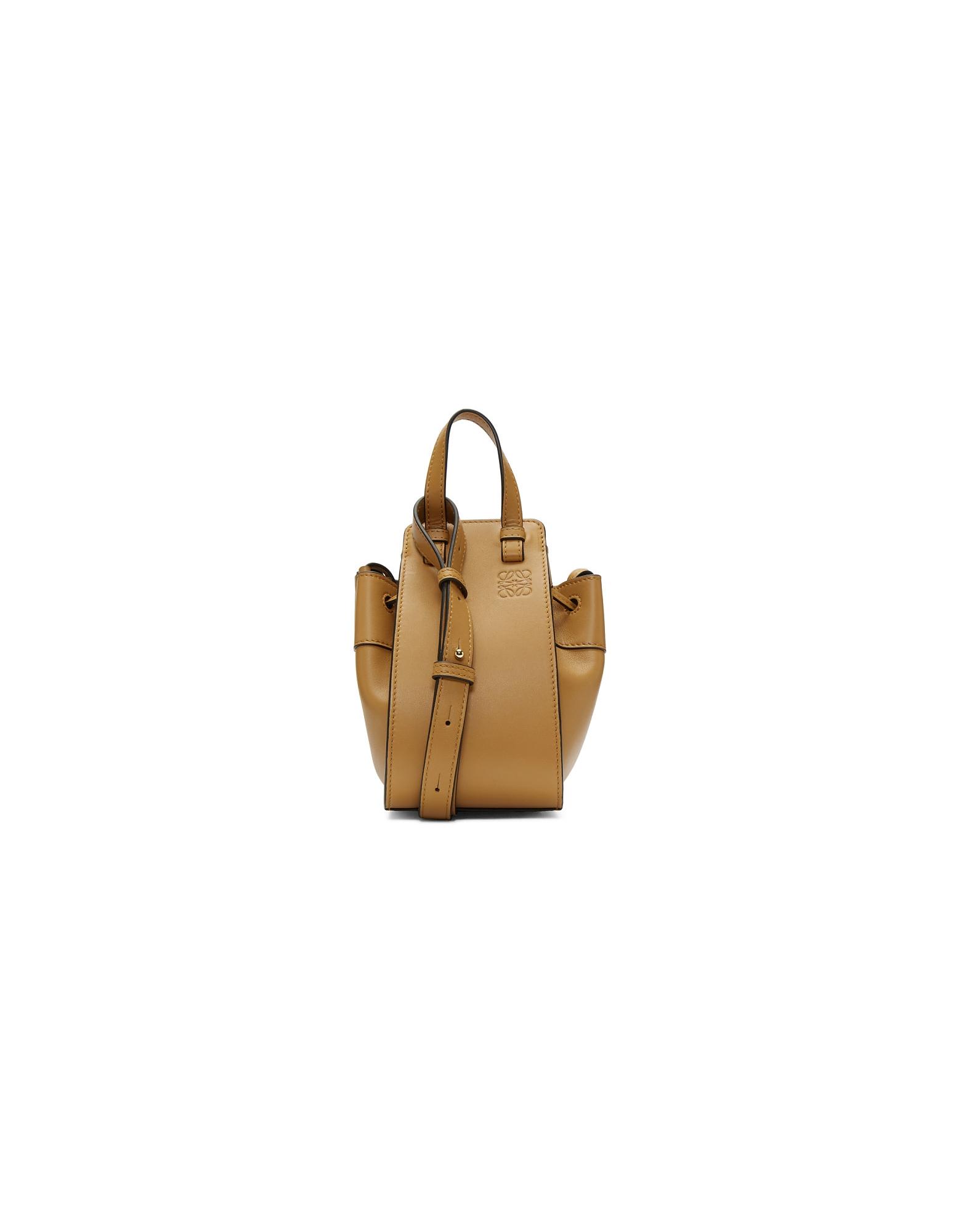 Loewe Designer Handbags, Brown Mini Hammock Drawstring Bag