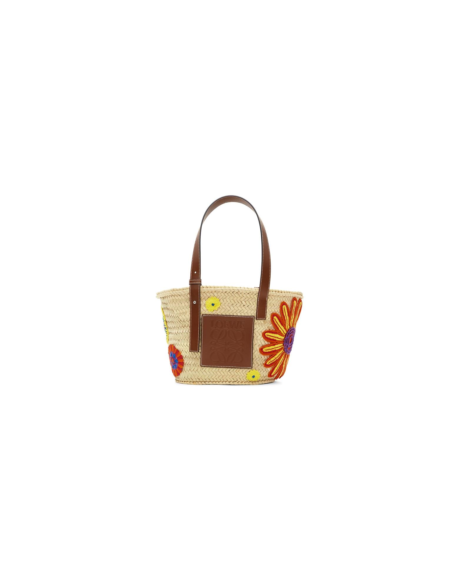 Loewe Designer Handbags, Beige Flowers Basket Tote