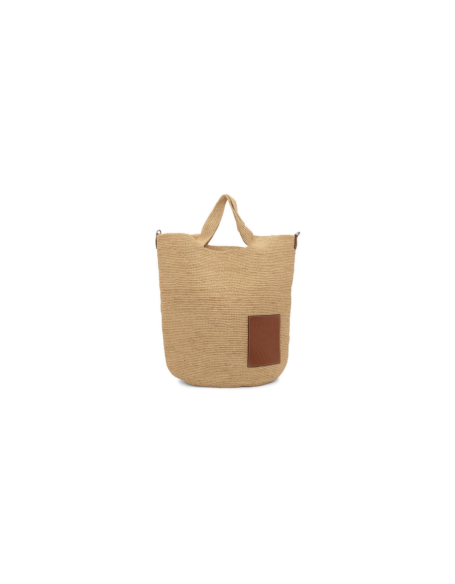 Loewe Designer Handbags, Beige and Tan Large Raffia Slit Bag
