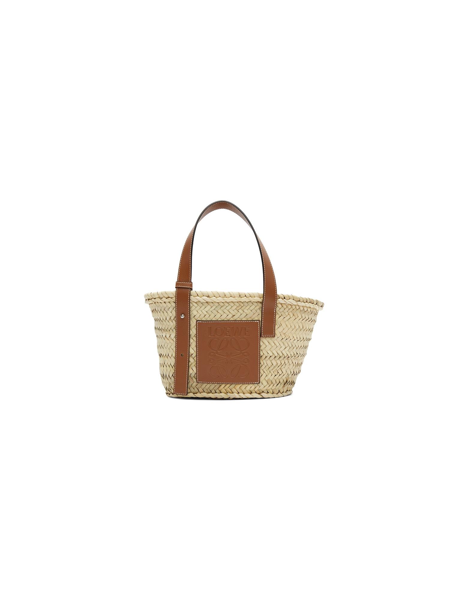 Loewe Designer Handbags, Beige Small Basket Tote