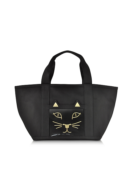 Foto Charlotte Olympia Feline Petite Ami Kitty Mini Borsa in Canvas Nero Borse donna