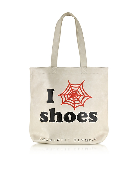 Foto Charlotte Olympia I Love Co Shoe Shopper in Eco Pelle con Logo Web Borse donna