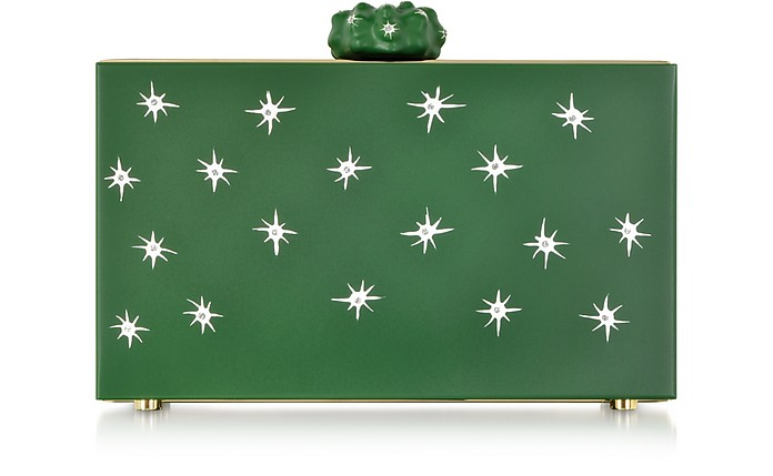 Green Prickly Pandora Clutch Box w/Cactus Clasp & Crystal Detail - Charlotte Olympia