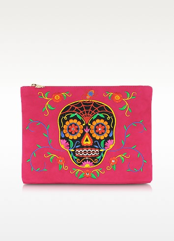 Fiesta Pink Dead Nice Pouch w/Embroidery & Crystal Detail - Charlotte Olympia