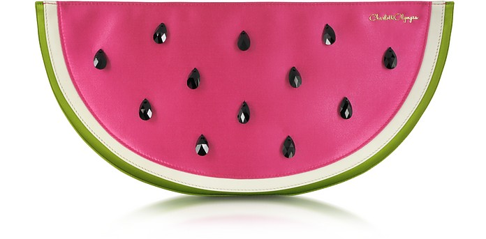 Pink and Green Watermelon Satin Pouch w/Crystal Detail - Charlotte Olympia