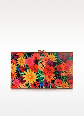 Multicolor Frida Print Pandora Box Clutch - Charlotte Olympia