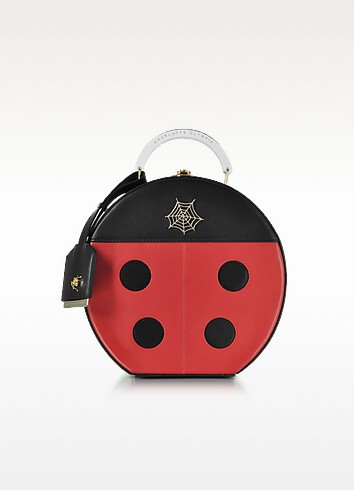 Black and Red Lucky Atkinson Leather Clutch - Charlotte Olympia