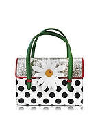 Charlotte Olympia Botanical Bag in Karung Argento e Vernice a Pois con Margherita - charlotte olympia - it.forzieri.com