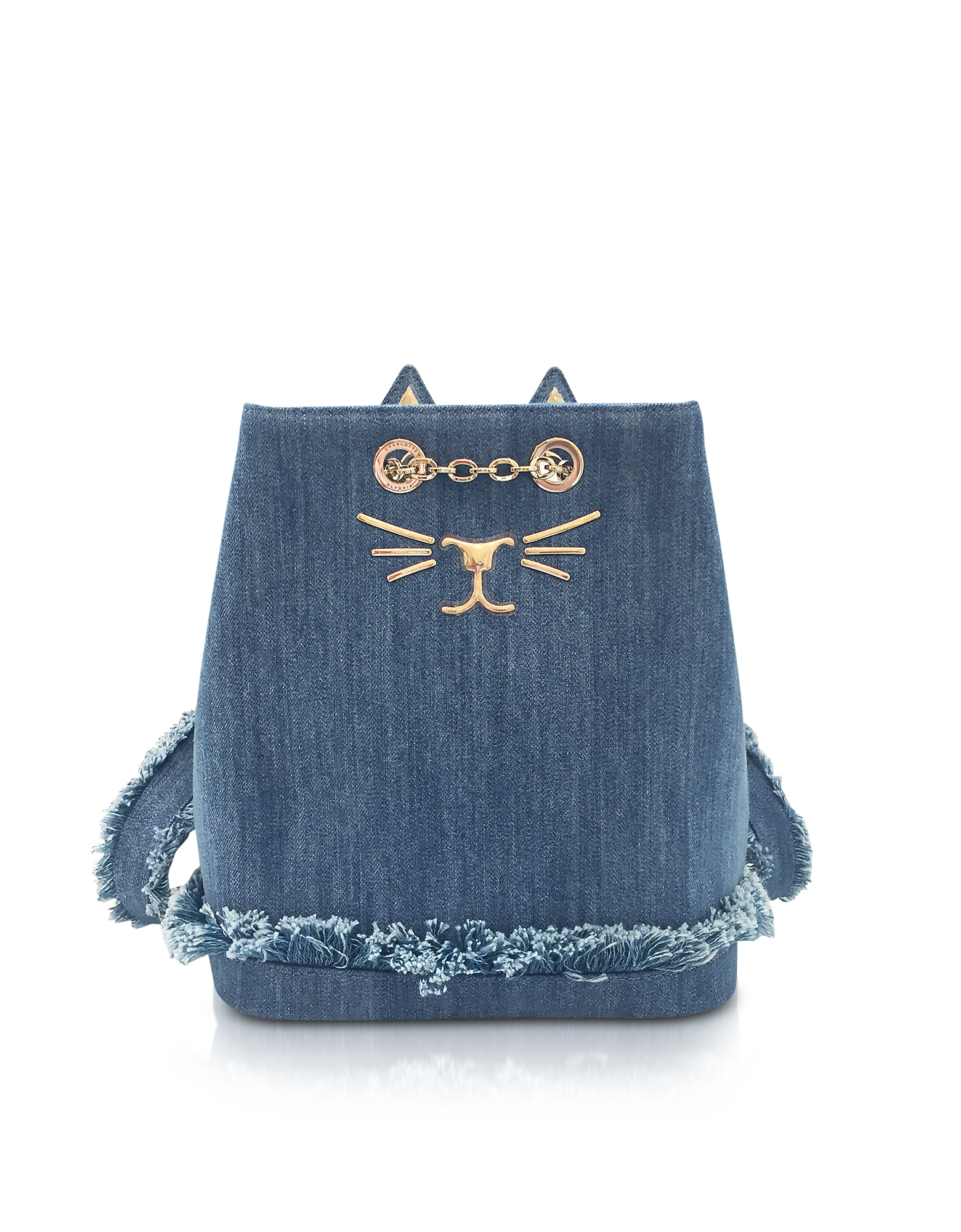 Charlotte Olympia Handbags, Medium Denim Petit Feline Backpack