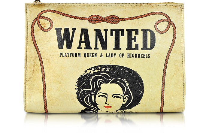 Wanted Poster Design Printed Natural Nappa Leather Pouch - Charlotte Olympia