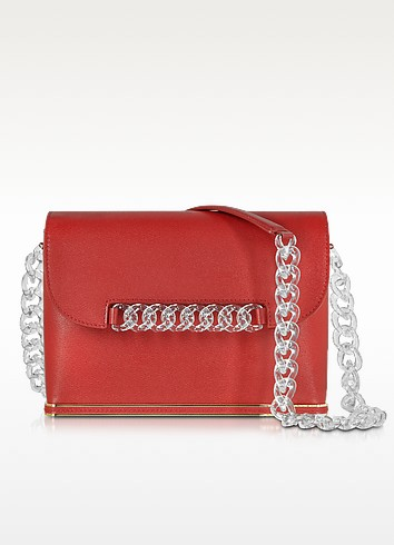 Dean Red Leather Shoulder Bag w/Transparent Chain - Charlotte Olympia