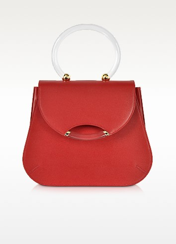 Newman Red Leather Satchel w/Transparent Handle - Charlotte Olympia