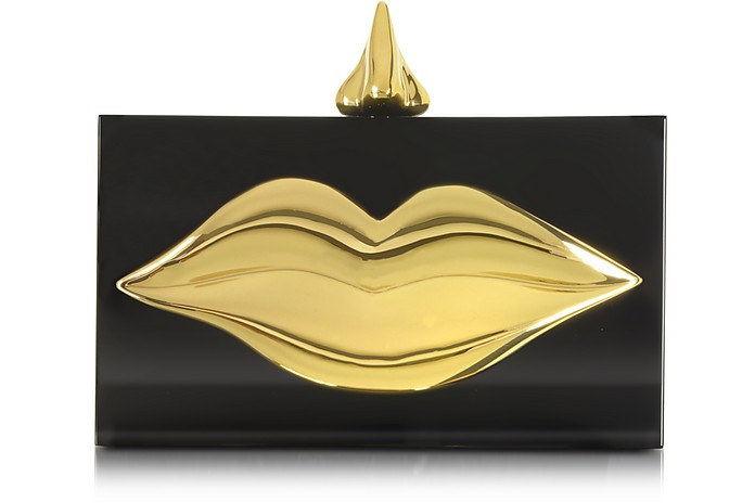 Dali Black and Golden Brass Clutch - Charlotte Olympia