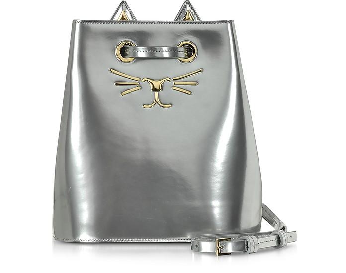 Feline - Сумка из Кожи Серебристый Металлик - Charlotte Olympia