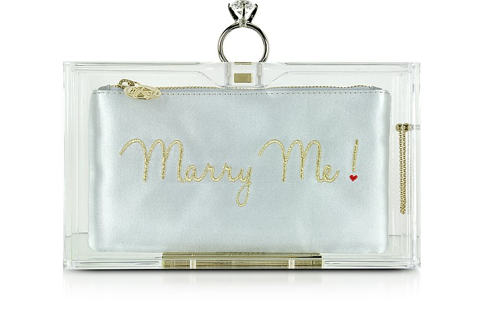 Marry Me Pandora Clear Perspex Clutch Box  - Charlotte Olympia